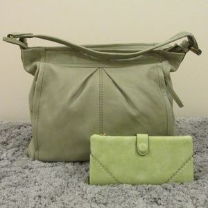 American Leather Soft Sage Hobo Bag with wallet
